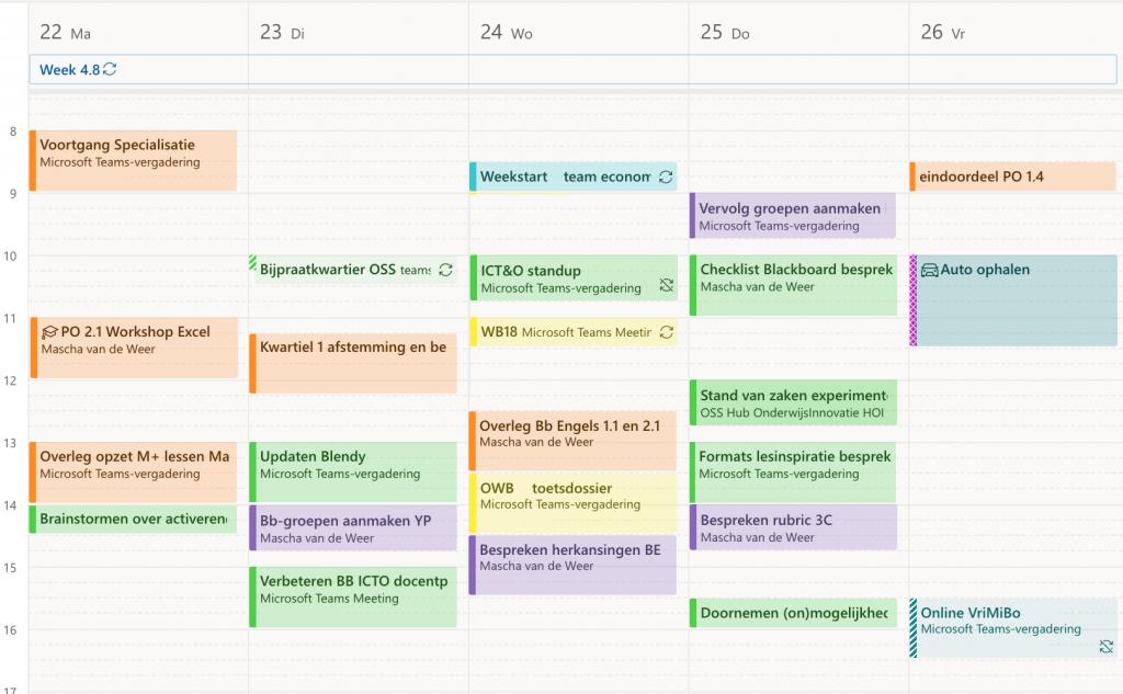 Outlook-agenda met veel afspraken erin