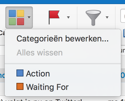 'Action' en 'Wachten op'-categorie in Outlook