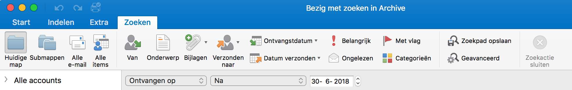 Zoekopties in de desktopversie van Outlook