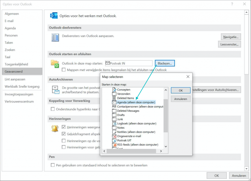 Instellen dat Outlook (voor Windows) voortaan start in je Agenda.