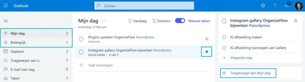 Lijst Mijn Dag in Microsoft To Do met een taak erop waarbij ook het sterretje is aangezet om aan te geven dat de taak belangrijk is.