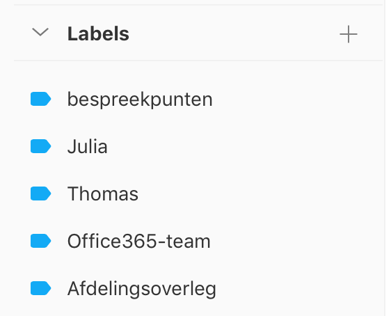 Labels in Todoist voor bespreekpunten met personen, teams of een overleg