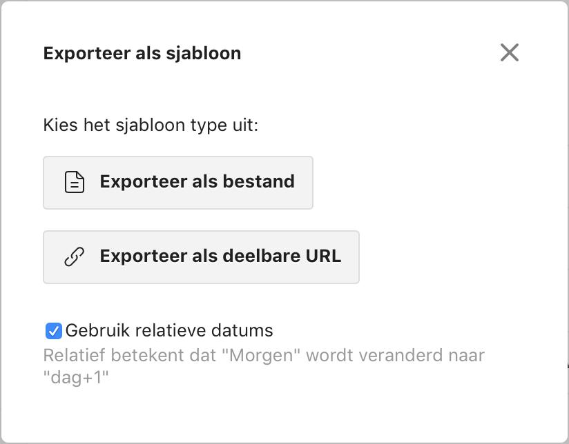 Venster in Todoist waarmee je een exportbestand kunt aanmaken en downloaden of online plaatsen en de url opvragen.