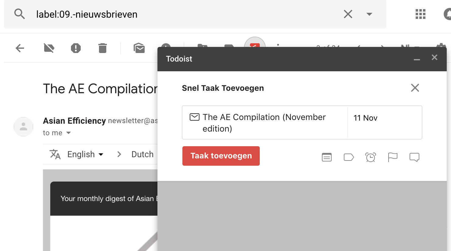 Todoist - Extensie Gmail