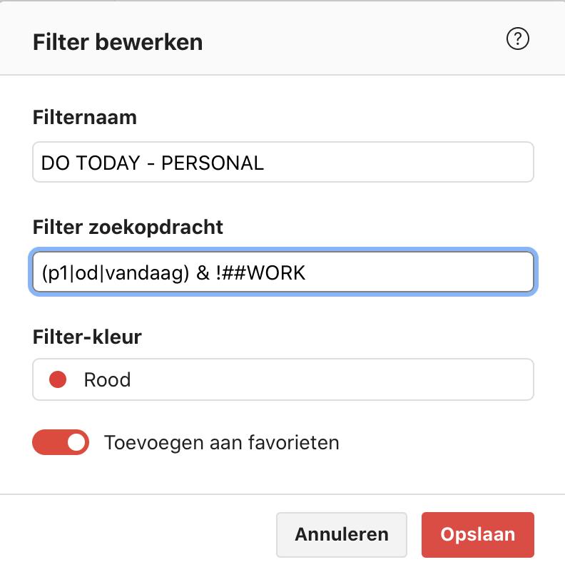 Todoist filter dat taken toont van mijn persoonlijke projecten. Met prio1, of met een datum van vandaag of eerder.