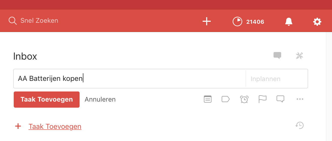 Todoist - Inbox - Taak toevoegen