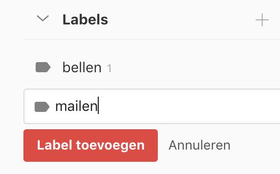 Omschrijving van een nieuw label in Todoist intypen