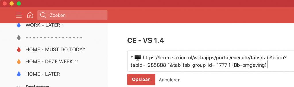 'Onvoltooibare' taak (notitie) in Todoist met icoon en link