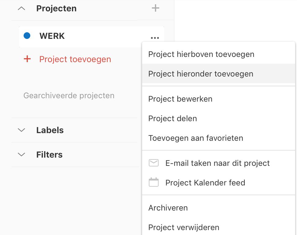 Project onder een ander project toevoegen in Todoist
