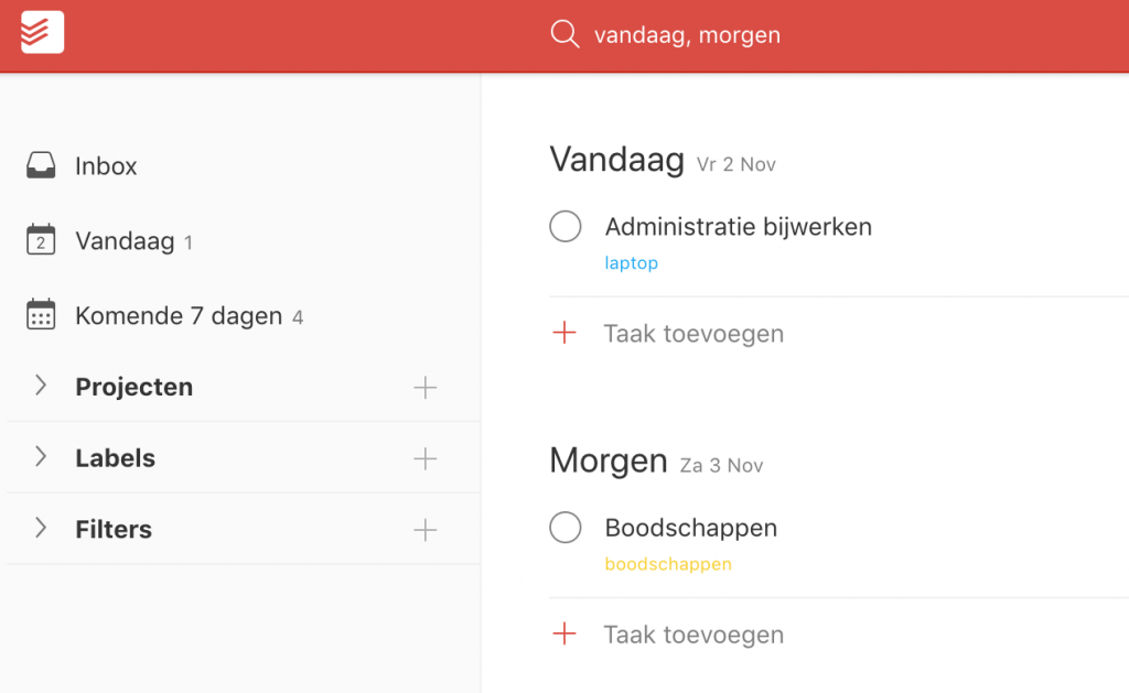 Todoist - Search for tasks to do Today and Tomorrow