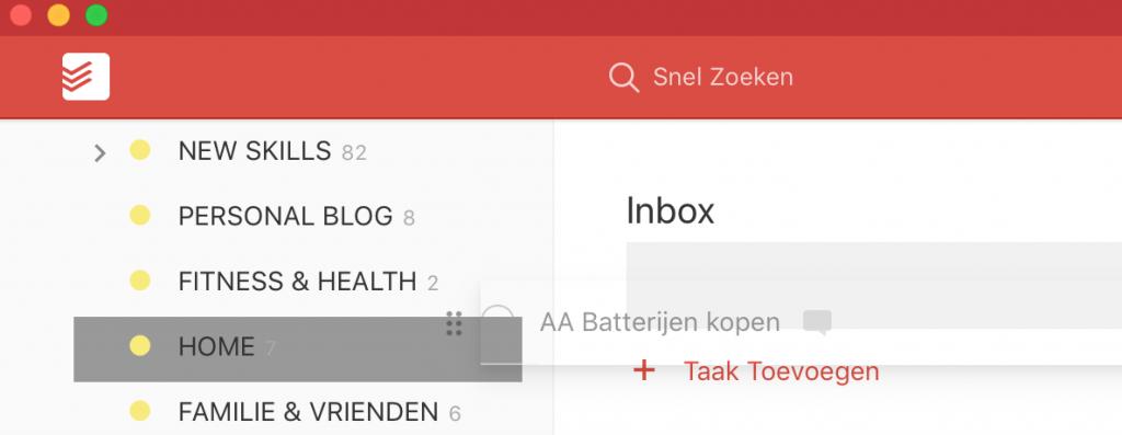 Taak vanuit de inbox slepen naar een project