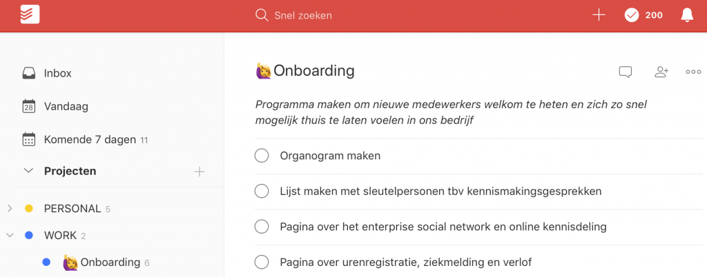 Project met taken in Todoist