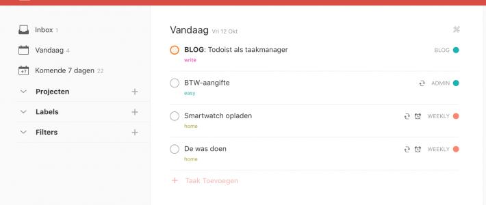 Todoist gebruiken als je taakmanager