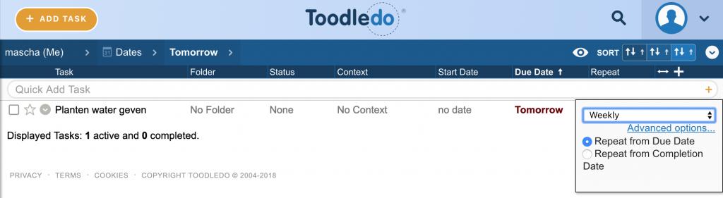 In Toodledo aangeven of de volgende einddatum moet worden bepaald obv de ingestelde einddatum of obv de voltooidatum