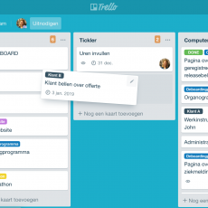 Trello-board met lijsten volgens Getting Things Done