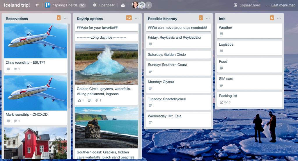 Trello-bord met de lijsten Reservations, Daytrip options, Possible itenerary en Info voor een trip naar IJsland.