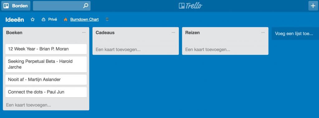 Lijsten van notities in Trello met een lijst per categorie notities.