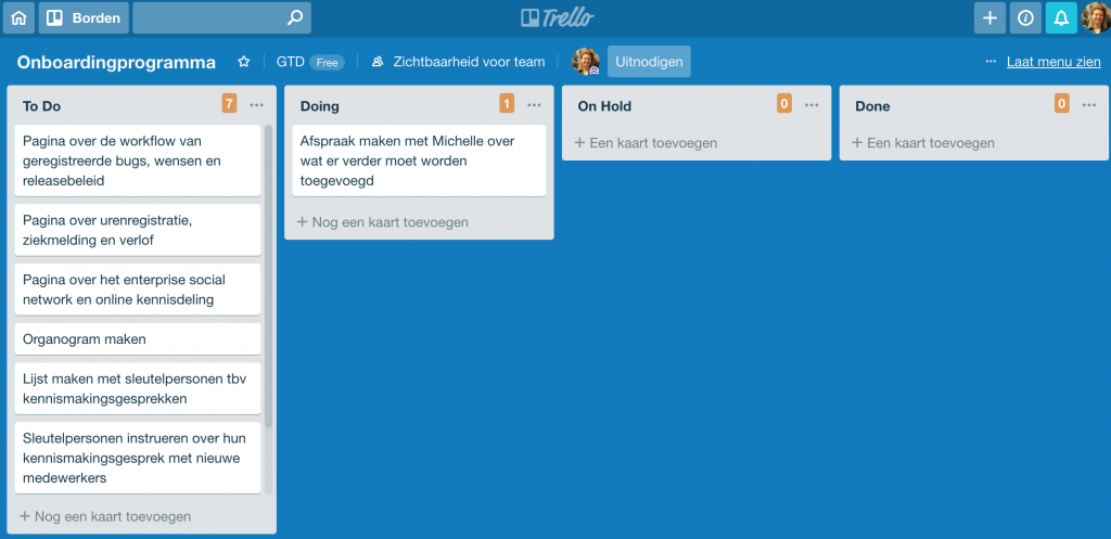 Trello bord voor één project, met de lijsten To Do, Doing, On Hold en Done.