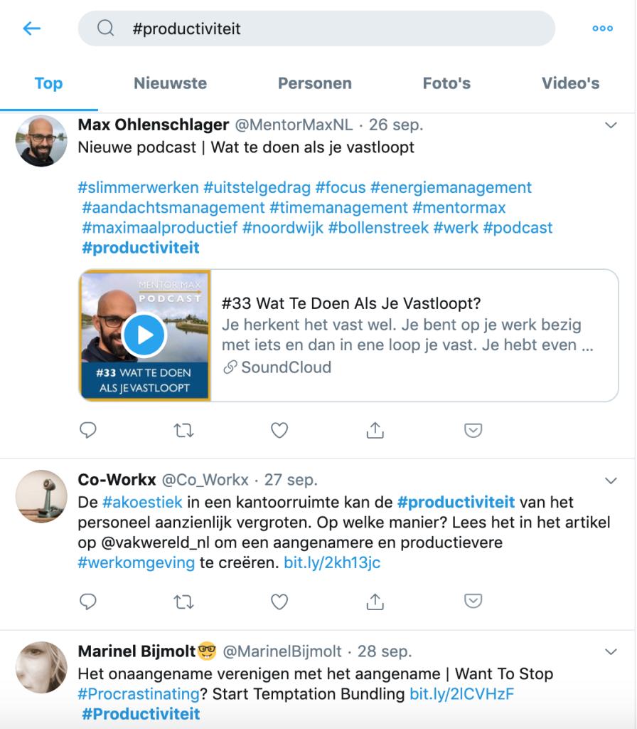 Een aantal gevonden tweets door te zoeken op de hashtag #productiviteit