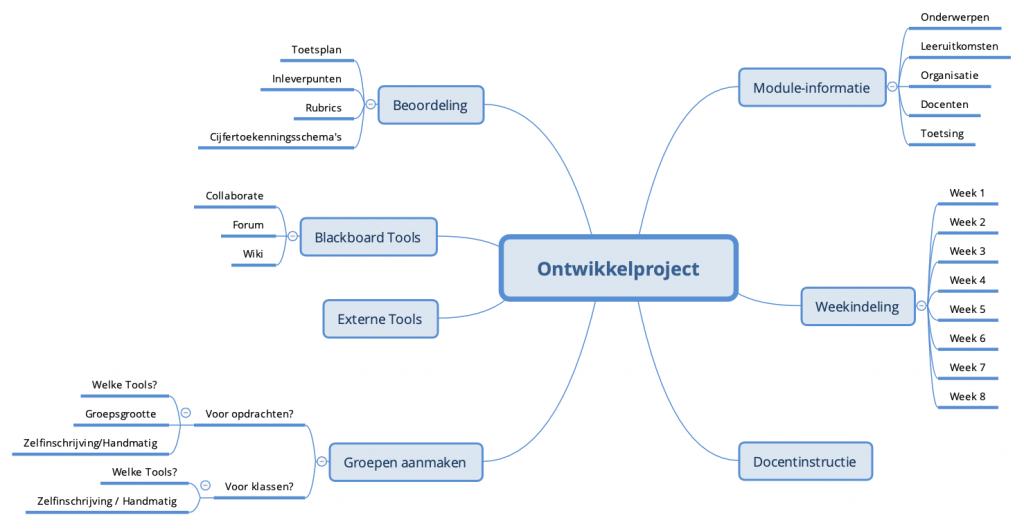Mindmap van een project