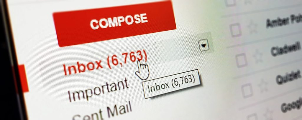 Gmail inbox met 6763 e-mails in de inbox