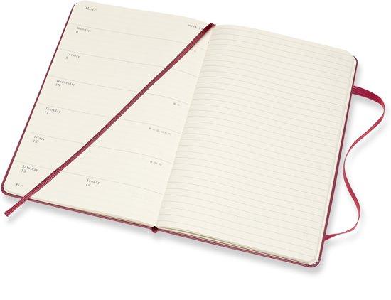 Weekplanner met een weekoverzicht op de linker pagina en ruimte voor een takenlijst op de rechter pagina.