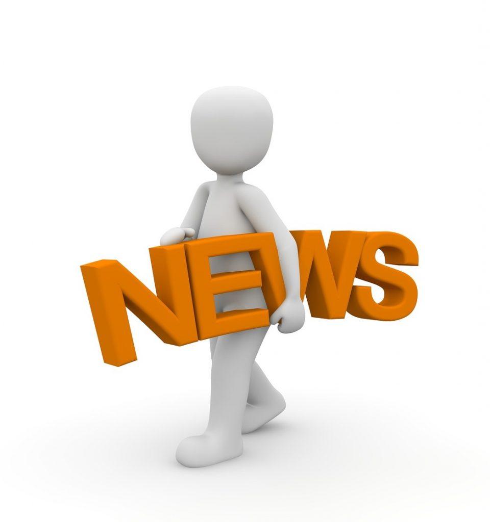 Wit 3D-poppetje met de oranje letters NEWS onder zijn arm