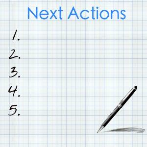 Lijst genaamd 'Next Actions' met plaats voor vijf acties, genummerd